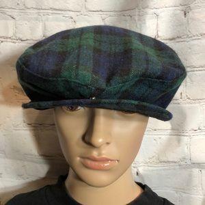 Vintage Blue/Green Plaid Tartan Newsboy Cap L